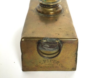 HIRAM L. PIPER Antique Brass Oil Lamp 1900's