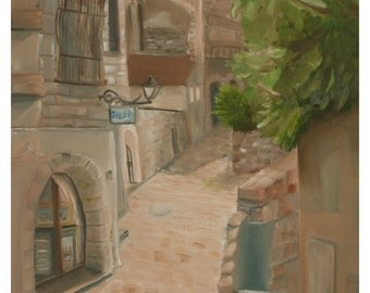 Alley  in Jerusalem. High quality print on canvas.