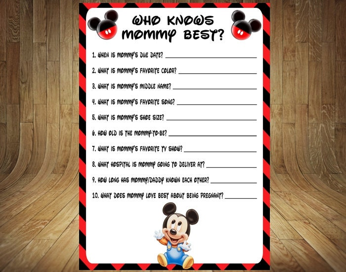 mickey who knows mommy best mickey baby shower game mickey