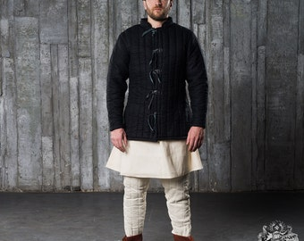 Gambeson - Knights Gambeson - 1 layer padding - Medieval Gambeson replica - Black gambeson - Uncoloured  gambeson designed by Steel-mastery