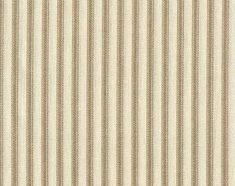 Tailored Valance, Linen Beige Ticking Stripe, Lined