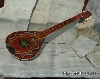 Vintage Tamboura Folk Instrument 6 Stringed Gadulka Bulgarian Folk Music Hand Painted Mandolin Folk Art