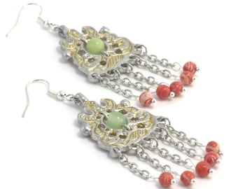 Earrings made of pewter, green onyx and coral (imitation), Reconstruction of the IX century, The gift for girl