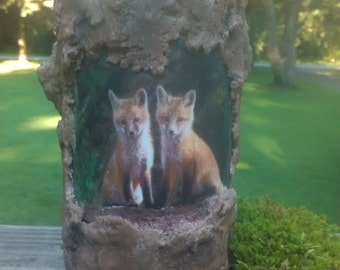 Fox Friends Tree Log Replica Scented Soy Candle