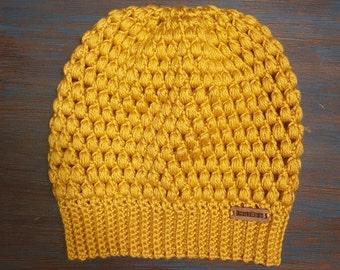 Women's Mustard Yellow Slouchy Crochet Beanie