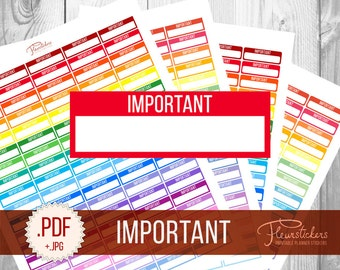 Printable Important planner stickers Printable stickers Important stickers Important Planner stickers Planner for use with Erin Condren