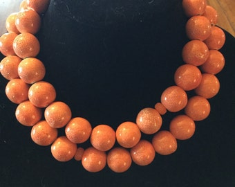 "Bright orange/peach 20mm ceramic ball  2 strand 17.5 "" choker"