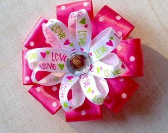 Pink Valentine Loopy Hairbow, Hearts and Polka Dot