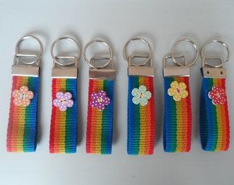 Handmade Fabric Keyfob Rainbow Bloom