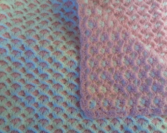 Carnation pink and white baby blanket