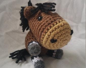 Crochet Horse - bay with socks
