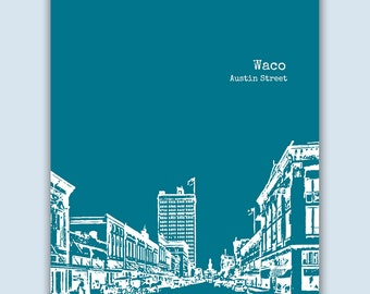 Waco Print, Waco Wall Art, Waco Skyline, Wedding Gift, Waco Art Print,  Waco Texas Art,  Waco Poster,  Waco Decor, Engagement Gift