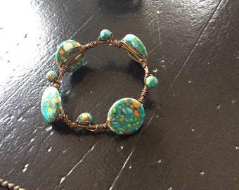 Handmade wire and bead bracelet