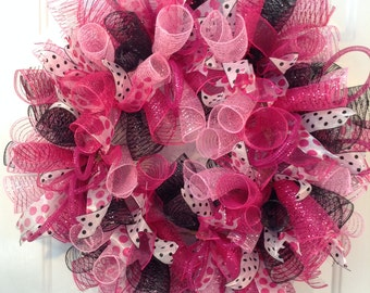 Deco Mesh Wreath, Mesh Wreath, Pink Wreath, Hot Pink Wreath, Black and Pink Wreath, Polka Dot Wreath, Fushia Wreath, Summer Wreath, Canadian