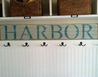 Coastal Sign - HARBOR Coastal Wall Art,Beach Coastal Decor,Coastal Wall Decor,Coastal Beach Decor,Beach Sign