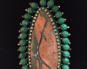 Standing Tall Green and Gold Beaded Pendant