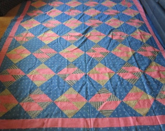 Vintage Red and Navy Quilt Top circa 1890