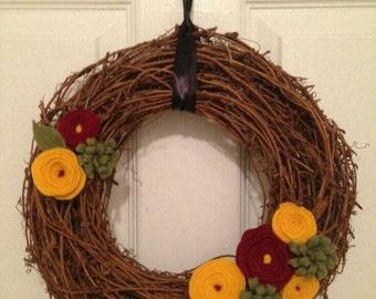 Grapevine Wreath with Handmade Felt Flowers