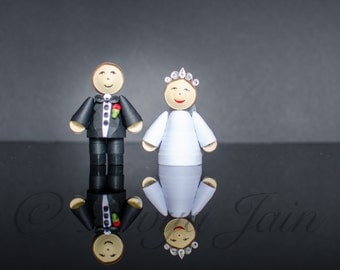 Miniature Bride n Groom Pair - Handmade Quilling & Papercraft