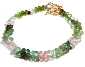 Tourmaline Bracelet--Pink Tourmaline Bracelet--Tourmaline Jewelry--Rainbow Tourmaline--Semi Precious Gemstone Jewelry--Gemstone Jewelry