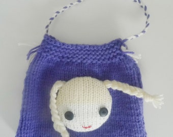 Beautiful Childs Hand Knitted Purple Bag.