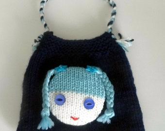 Beautiful Childs/Dolls Dark Blue Hand Knitted Bag.