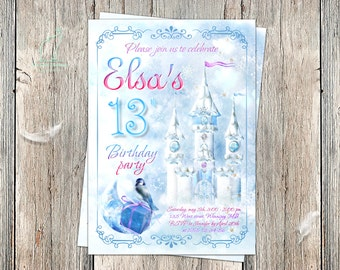 Frozen Invitation-Snow Qween Invitation-Winter Invitation-Castle invitation-Ice invitation-Frozen Birthday-Printable-Custom invitation