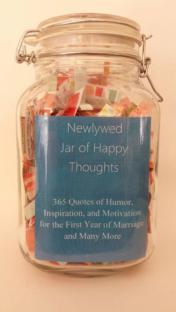 Humor Inspirational Quotes For Jar: Items Similar To Newlywed Jar Of Happy Thoughts- Humorous