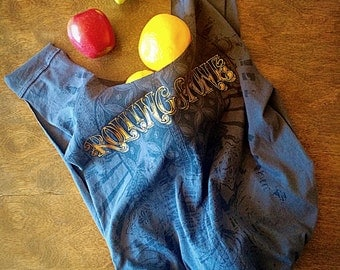 Reuseable grocery bag/ market bag/ ecofriendly bag/ beach bag/ gym bag/ shopping tote bag/ upcycled tshirt tote/ rolling stone