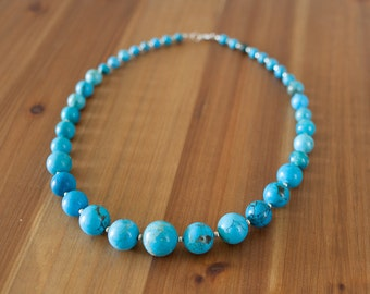 Graduated Blue Turquoise Necklace, Chunky Turquoise Necklace, Chunky Blue Necklace, Blue Beaded Necklace, Southwest Turquoise Necklace