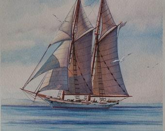 Sailboat - original watercolor painting on watercolor paper