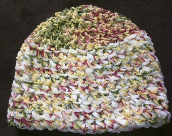 White and Multicolored Crocheted Winter Hat