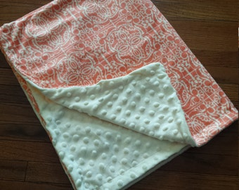 Pink and Cream Minky Baby Blanket