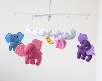 "Baby crib mobile, Safari mobile, animal mobile, felt mobile ""let's go to the zoo 4"" Elephant, clouds, moon and stars"