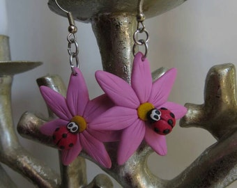 Pink Ladybug Flower Earrings