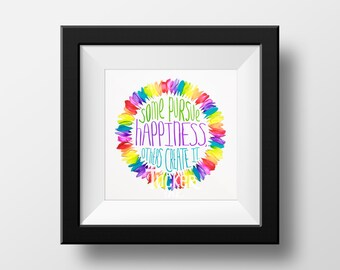 Happiness Petals Quote {daisies feather rainbow quotes inspirational print photo graduation gift dorm decor wall art}