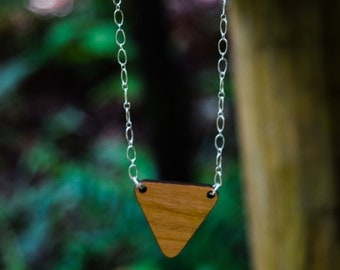 Cherrywood Triangle on Sterling Silver Necklace