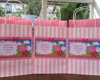 Personalised peppa pig party bags
