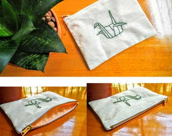 Embroided Canvas Pouches