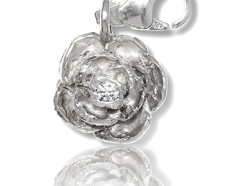 Silver Charm Rose with glitter for charm bracelet