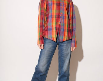 Vintage 80s asymetric shirt / Checkered pattern