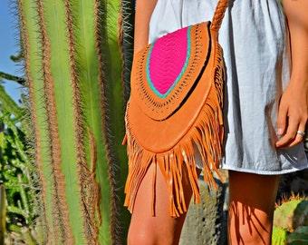SALE! Handmade Leather Fringe Bag 》leather bag 》snake skin bag 》fringe bag 》leather handbag 》handmade bag 》
