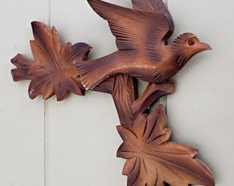 Vintage Wood Carved Bird on a Branch