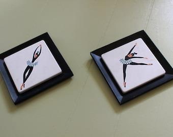 Pair of Vintage 1950's Ballet Dancer Molded Plaques