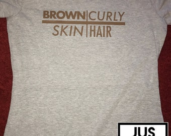 Brown Skin Curly Hair or V-neck Ladies Shirt
