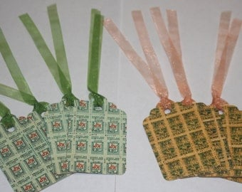 Handmade Tags made from Vintage Green Stamps and King Korn Stamps on cardstock backs with ribbon ties