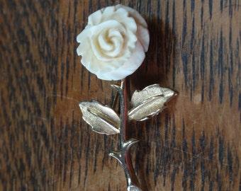 Vintage White Rose Brooch