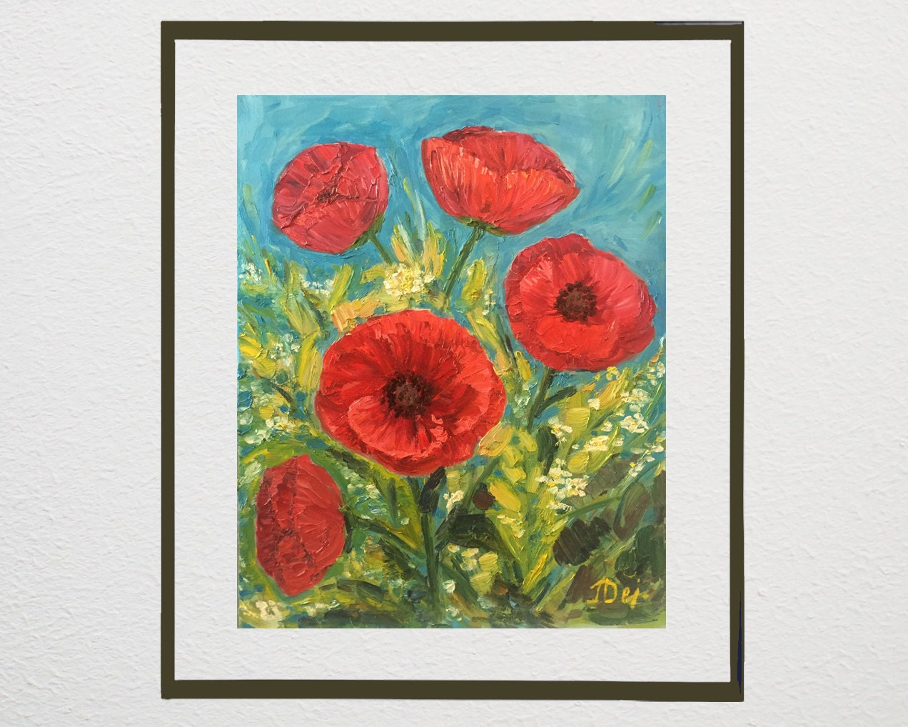 Red Poppy Wall Decor : Red poppy flowers floral wall art home decor original