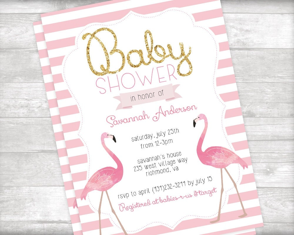 flamingo baby shower invitation and book request printable