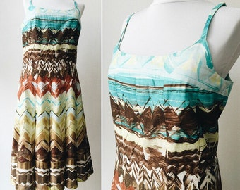 Multicolored dress / Cotton vintage dress / size M